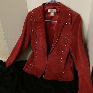 Lisa Int'l Red Seude Jacket Moto Studded Sz S